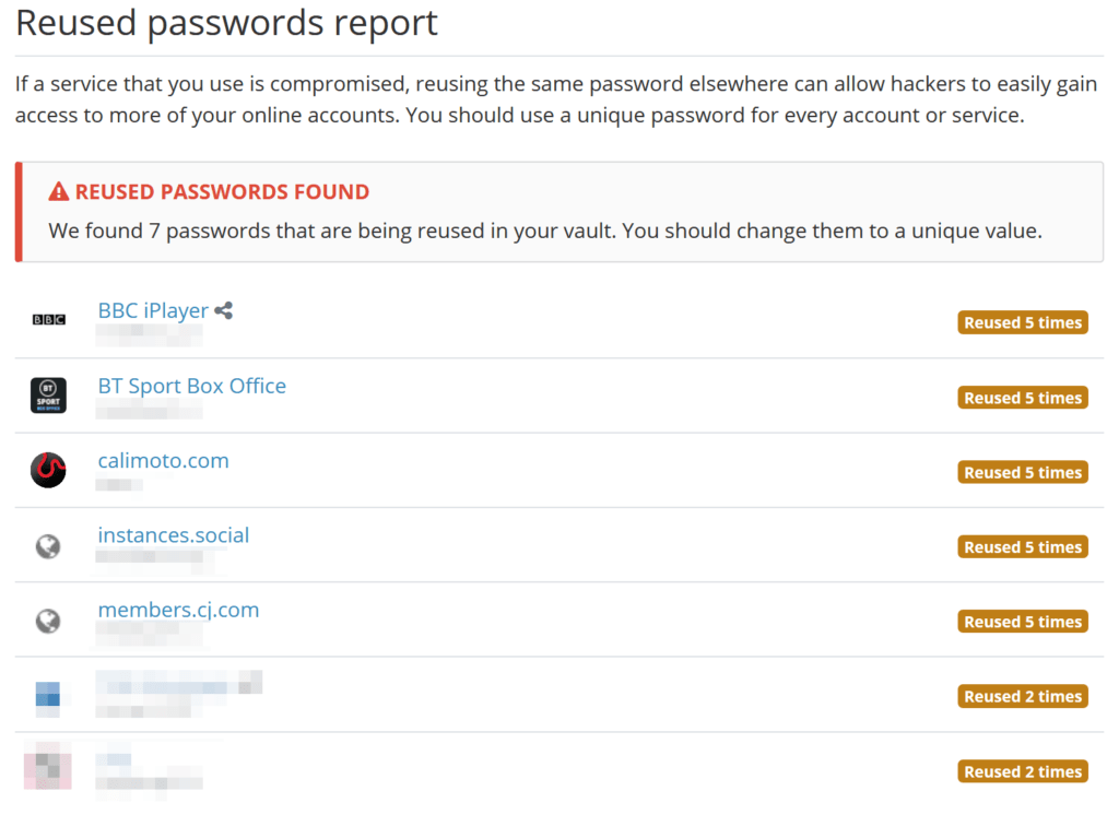 Bitwarded reused passwords report