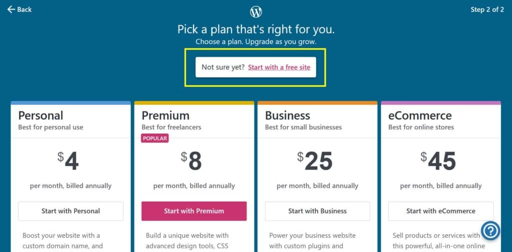 WordPress.com plans